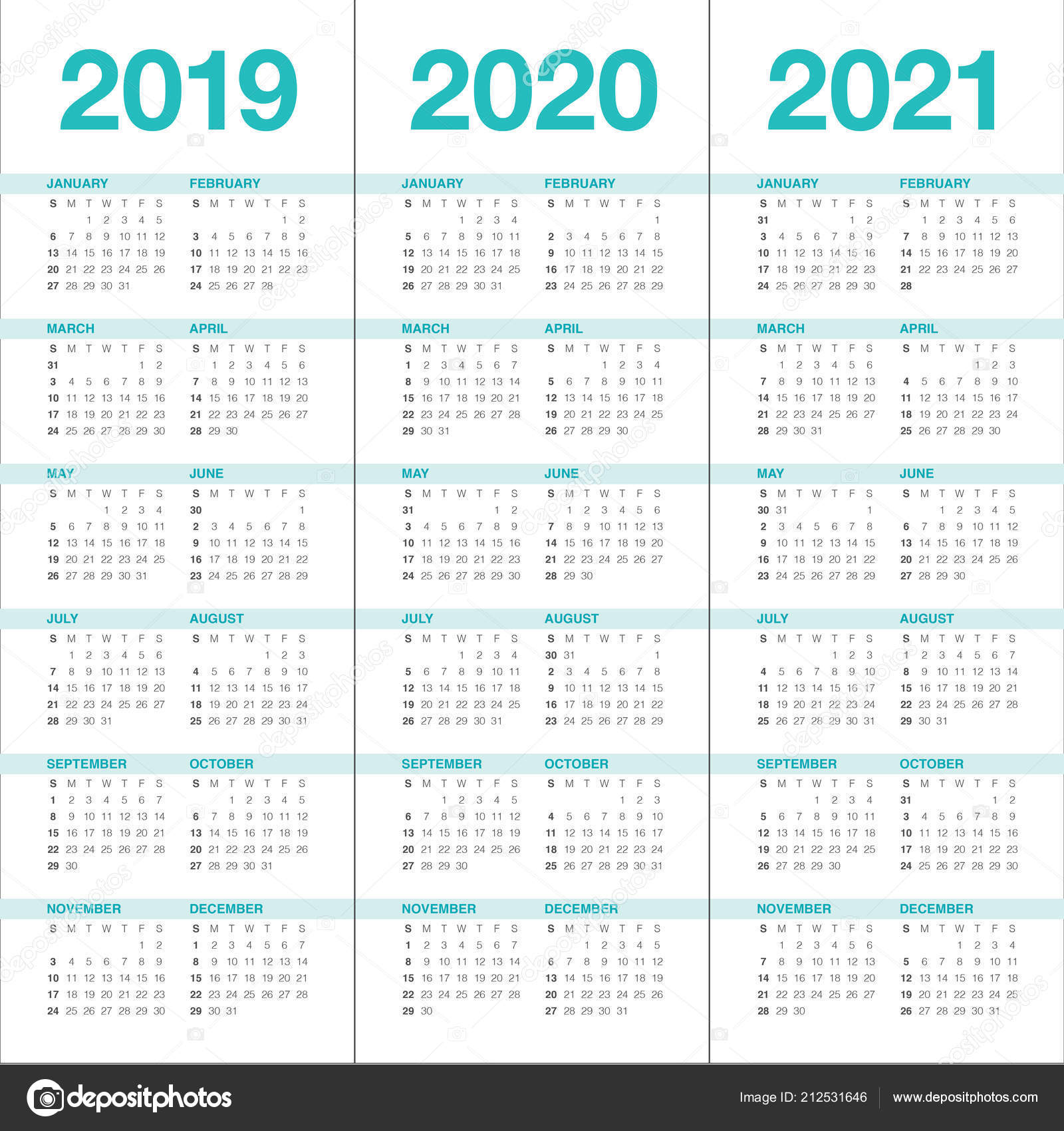 Calendrier 2020 2021.Year 2019 2020 2021 Calendar Vector Design Template Simple