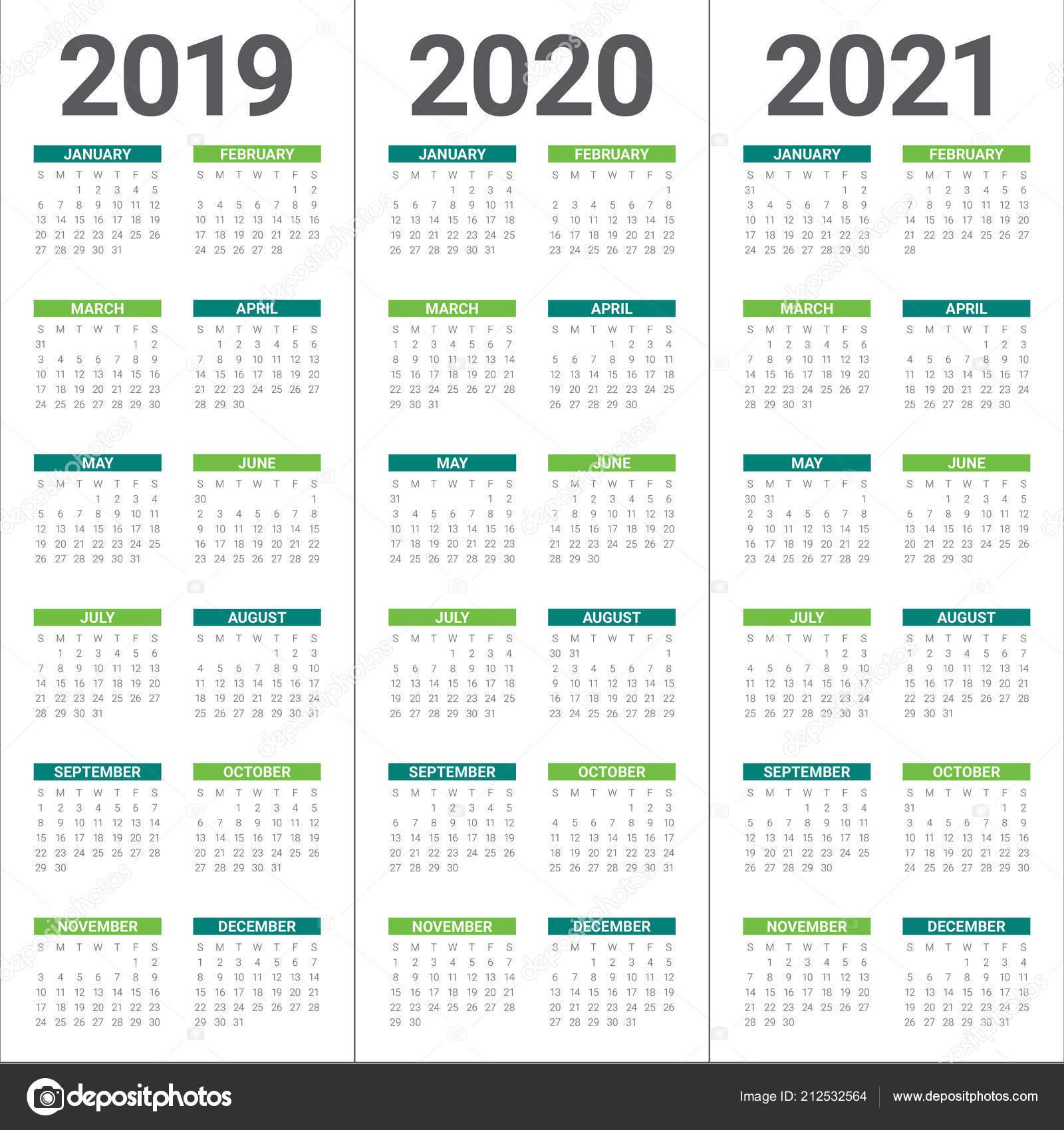 Year 2019 2020 2021 Calendar Vector Design Template Simple ...