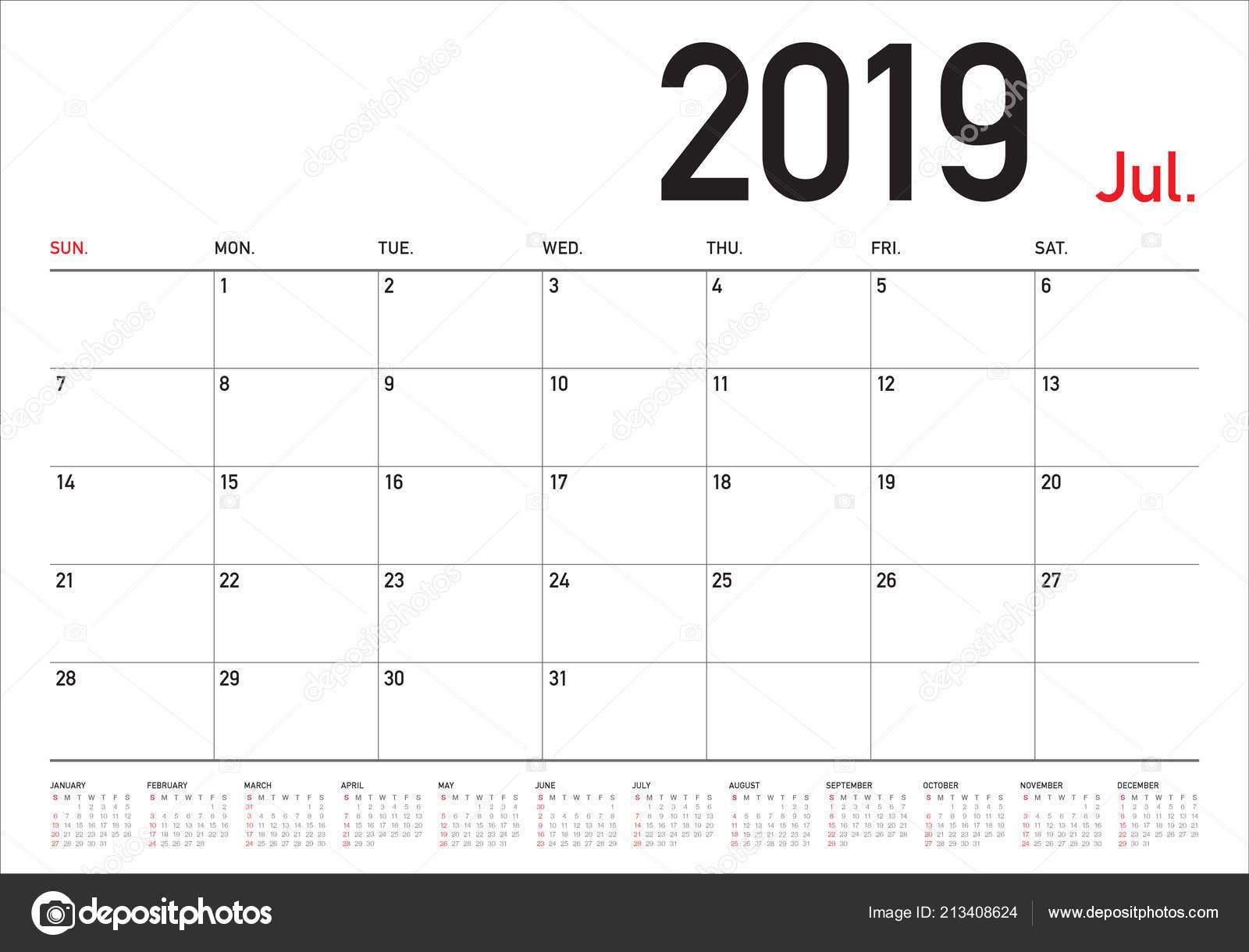 Calendario 31 Luglio 2019.Immagini Calendar Vector 2019 Illustrazione Vettoriale
