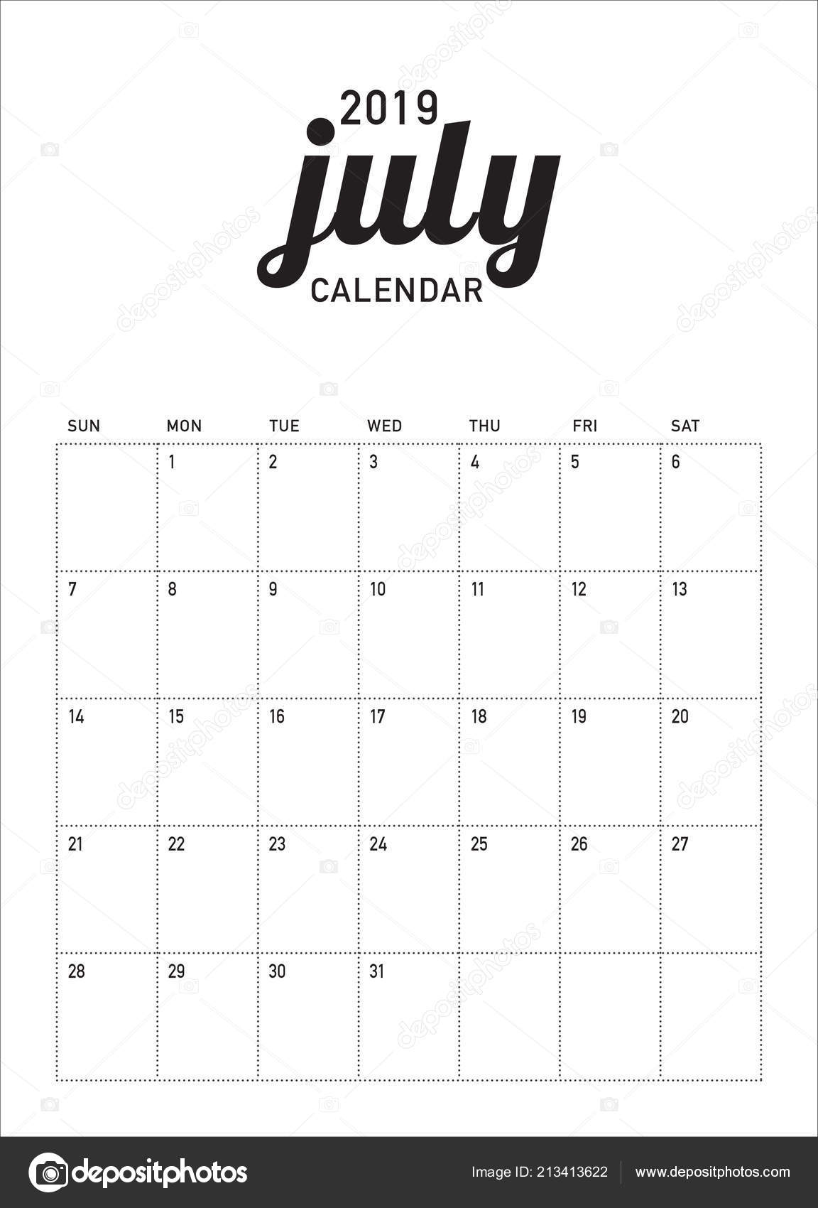 Calendario Julio 2019 Vector.Ilustracion Vector Calendario Julio 2019 Escritorio Diseno