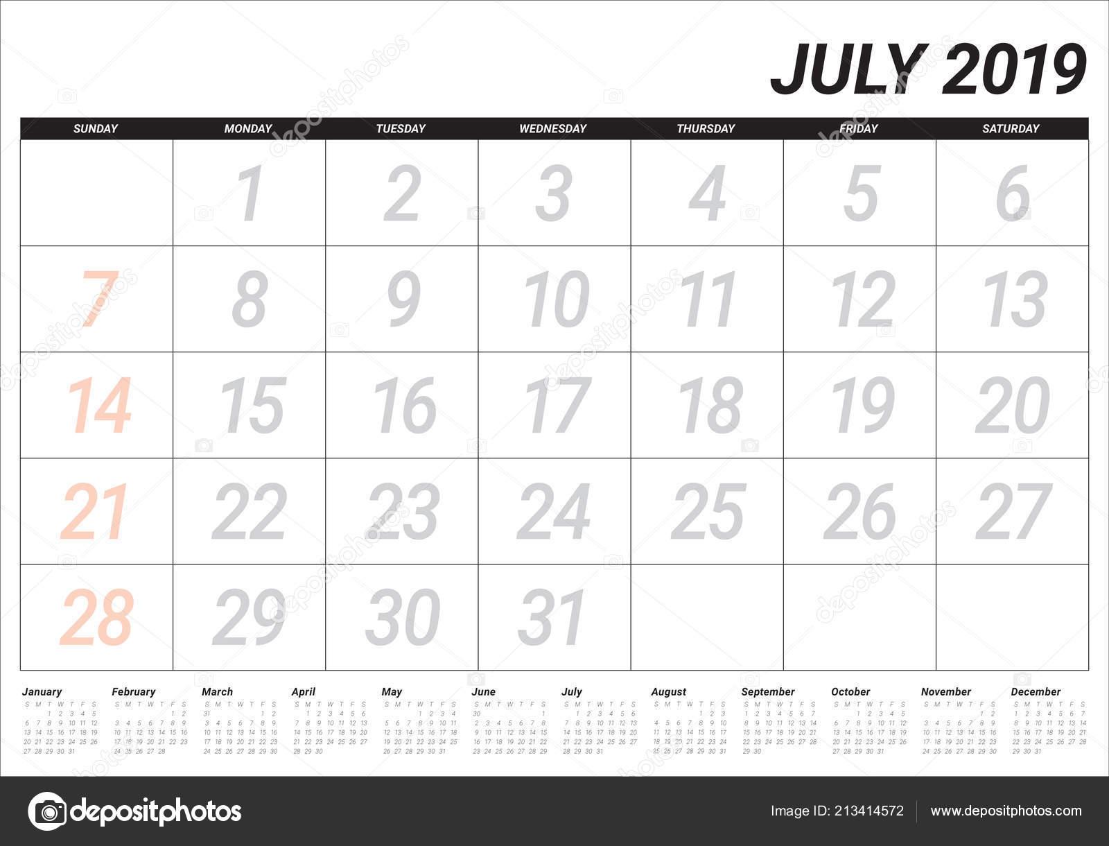 Calendario 31 Luglio 2019.Illustrazione Vettoriale Luglio 2019 Scrivania Calendario