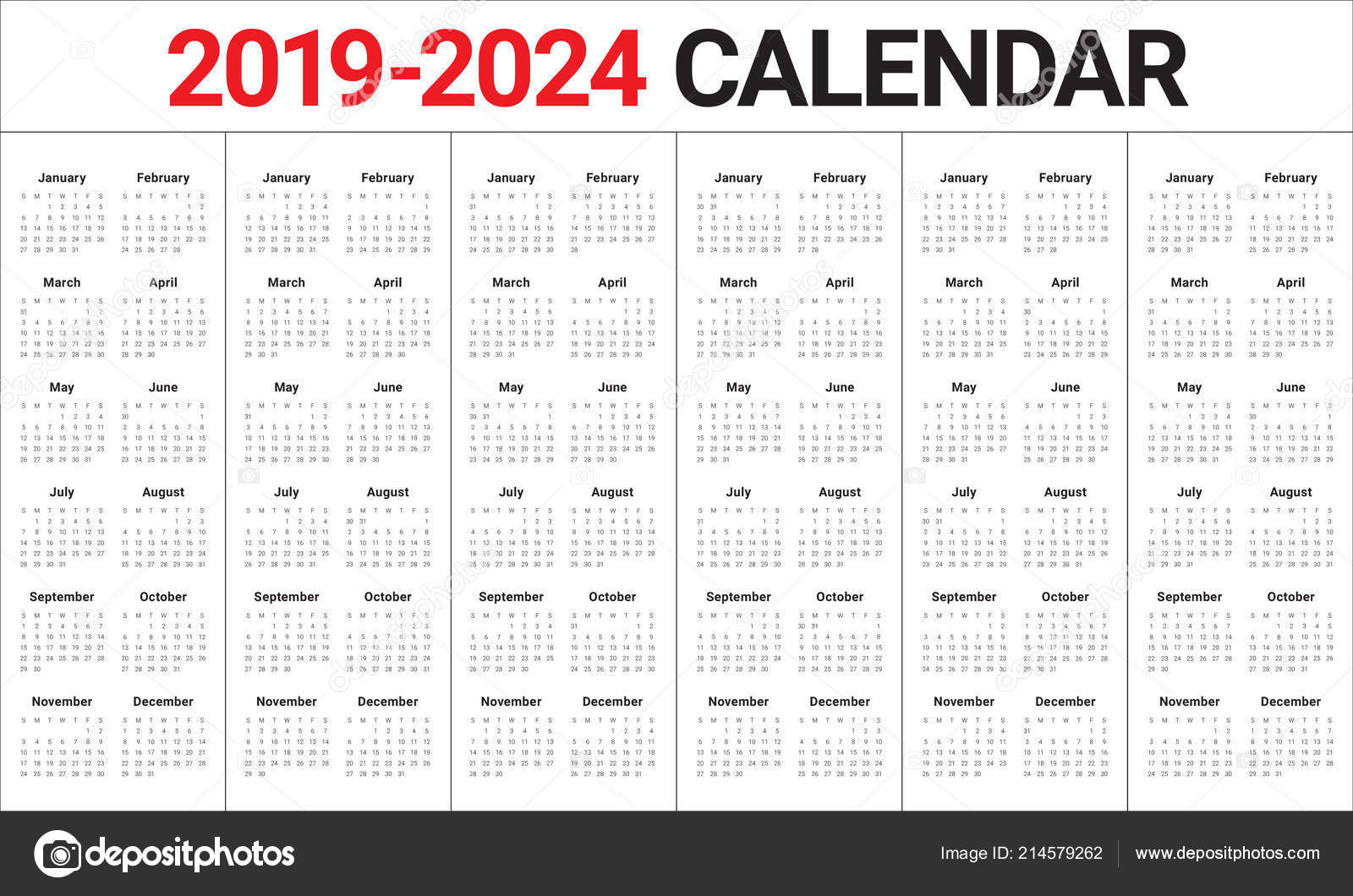 Calendrier Pro A 2020 2019.Year 2019 2020 2021 2022 2023 2024 Calendar Vector Design