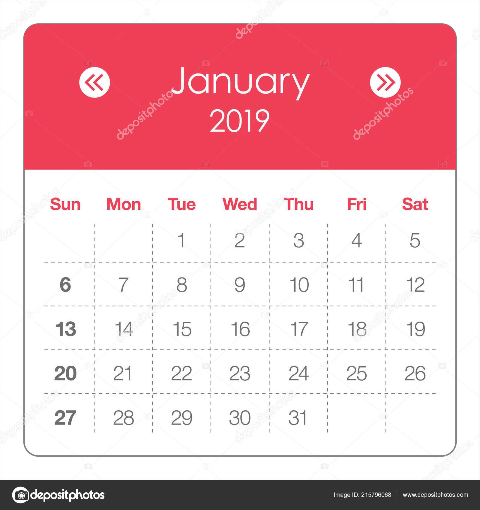 Anime 2019 Febrero: Ilustração Vetor Janeiro 2019 Mensal Calendário Projeto