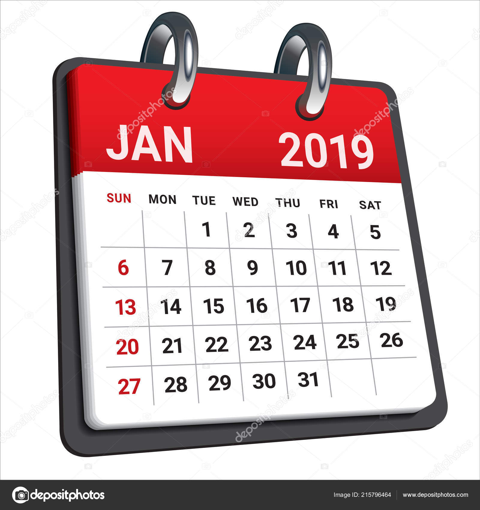 January 2019 Monthly Calendar Vector Illustration Simple Clean