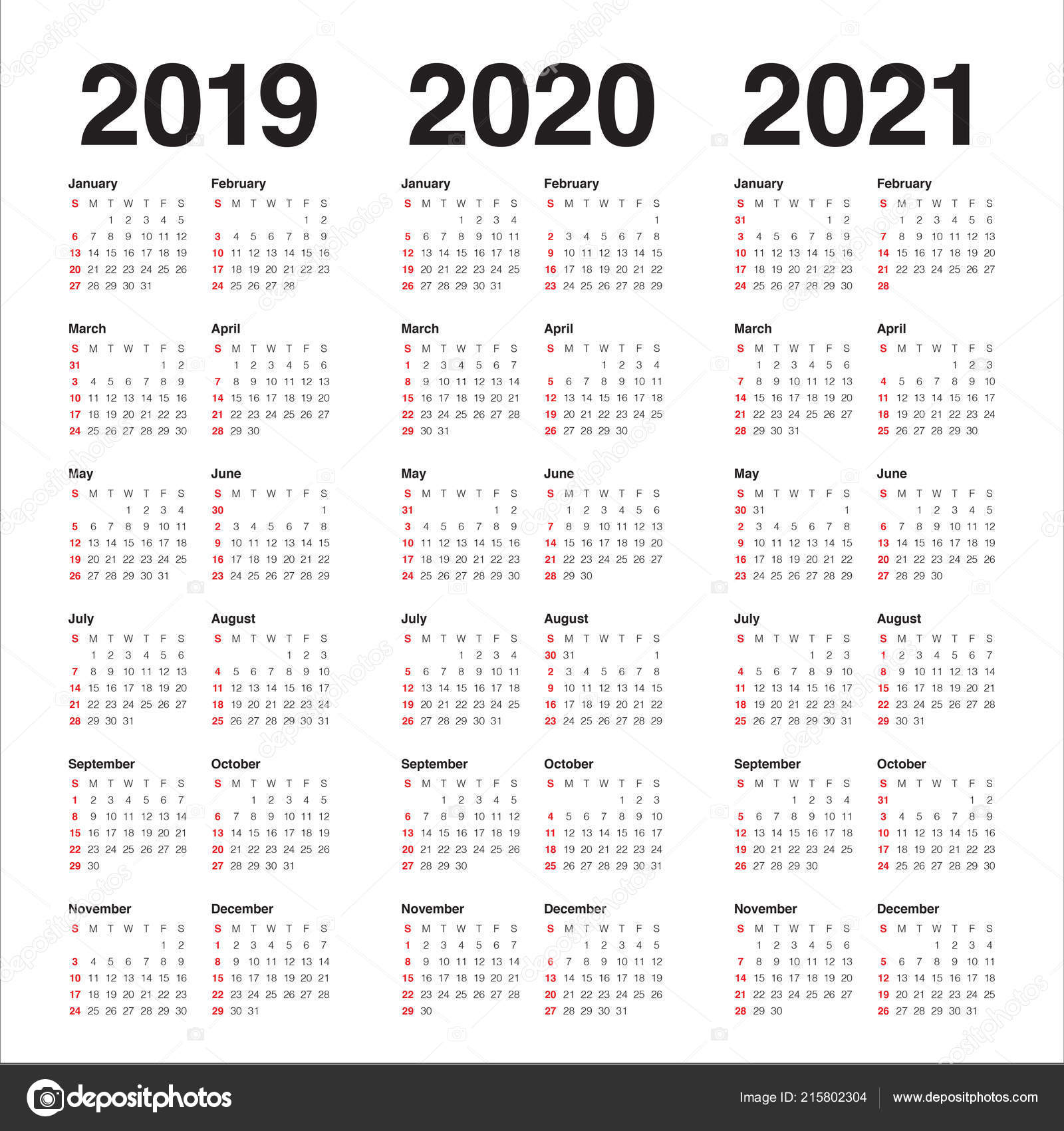 Yearly Calendar 2019 And 2021 Year 2019 2020 2021 Calendar Vector Design Template Simple Clean