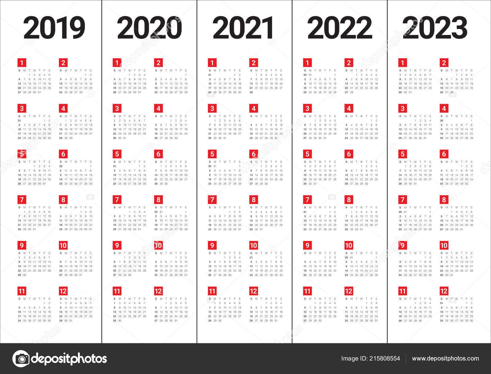 2022 To 2023 Calendar.Year 2019 2020 2021 2022 2023 Calendar Vector Design Template Vector Image By C Dolphfynlow Vector Stock 215808554