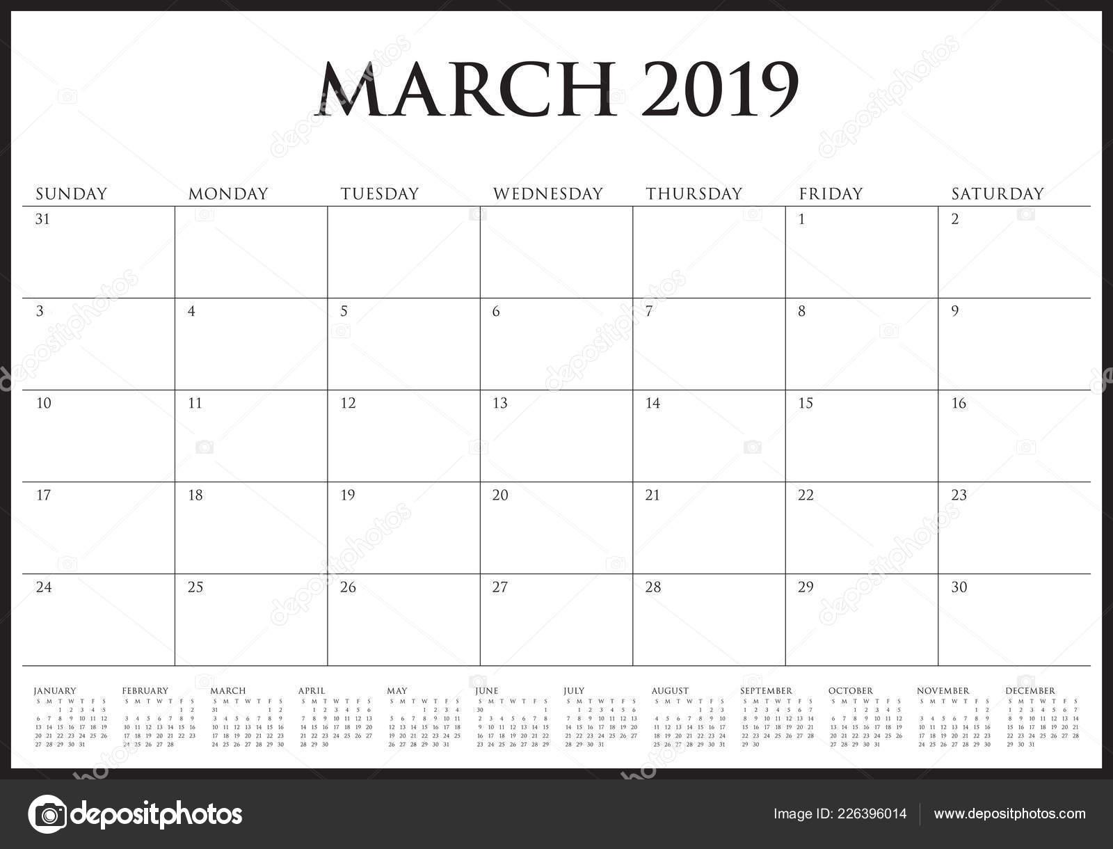 Calendario Di Marzo.Illustrazione Vettoriale Marzo 2019 Scrivania Calendario