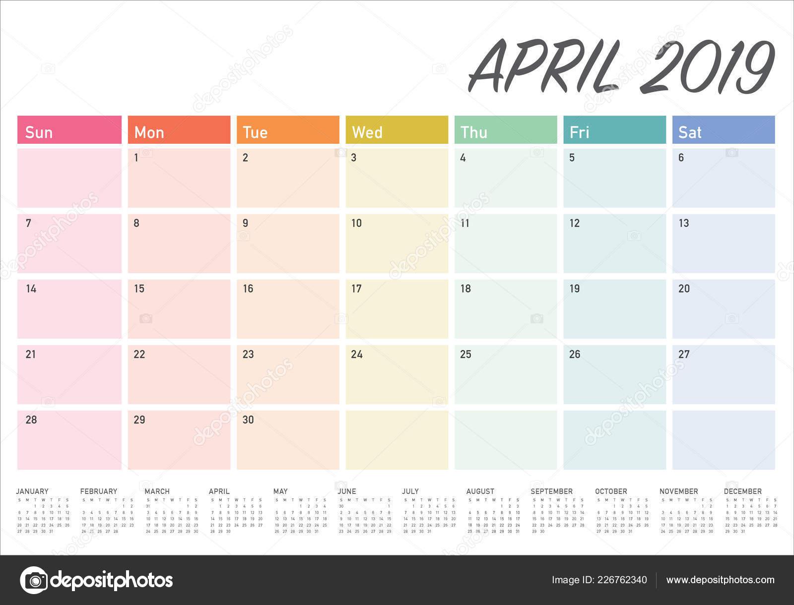 55e6208f5 Ilustración Vector Calendario Abril 2019 Escritorio Diseño Simple Limpio —  Vector de stock