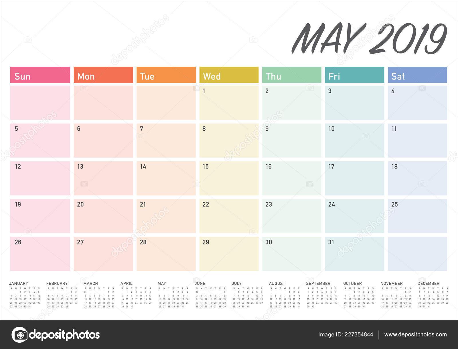Calendario Mayo2019.Ilustracion Vector Calendario Mayo 2019 Escritorio Diseno Simple