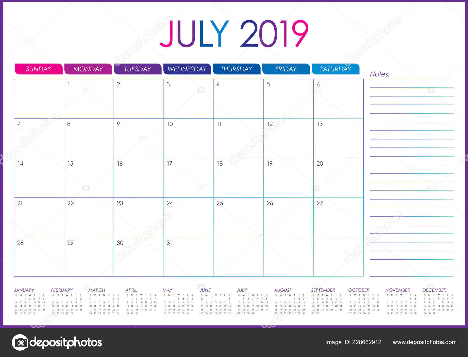 Calendario Julio 2019 Vector.July 2019 Desk Calendar Vector Illustration Simple Clean