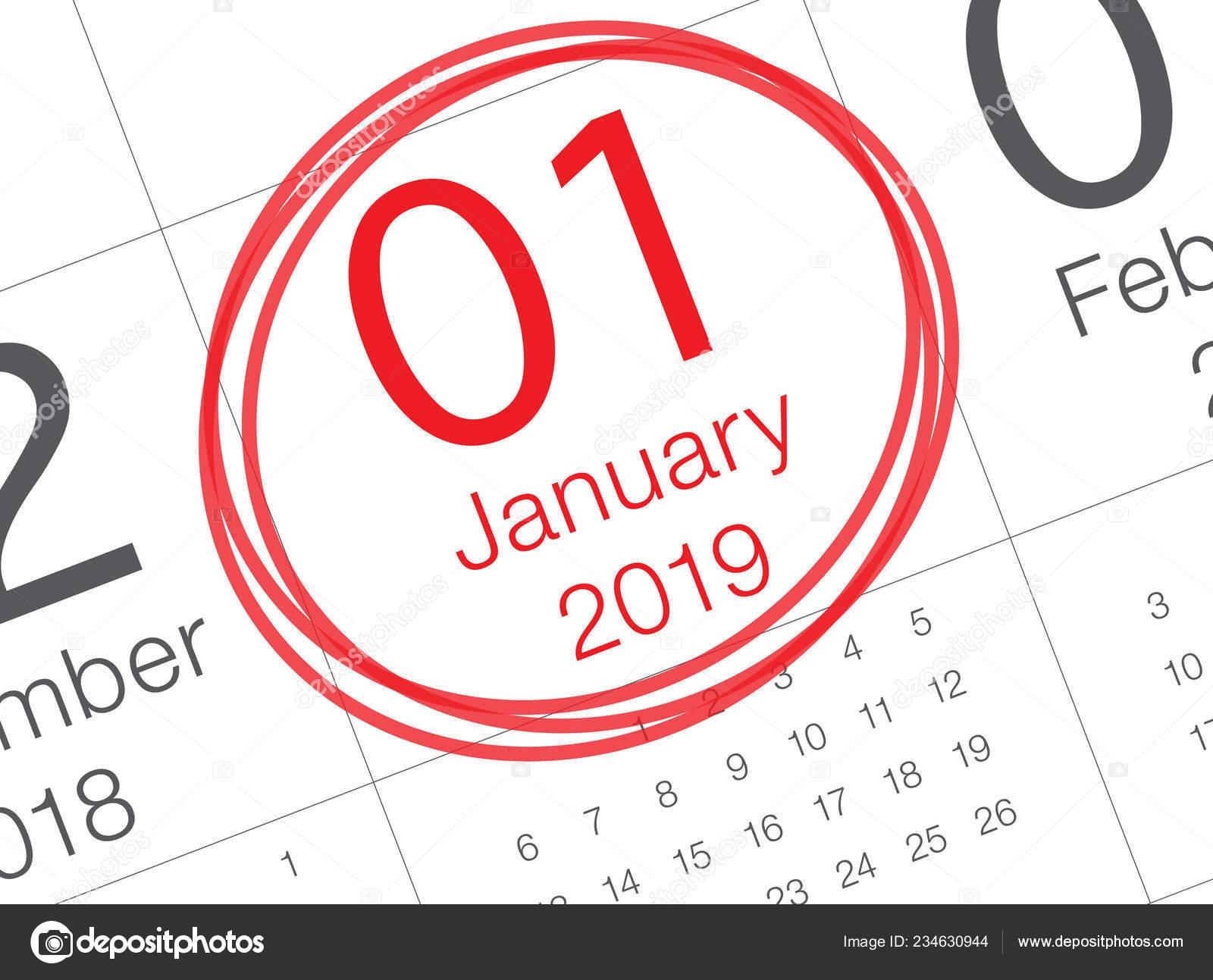 Calendario Gregoriano.Feche Primeiro Dia Ano Calendario Diario 2019 Ano Novo