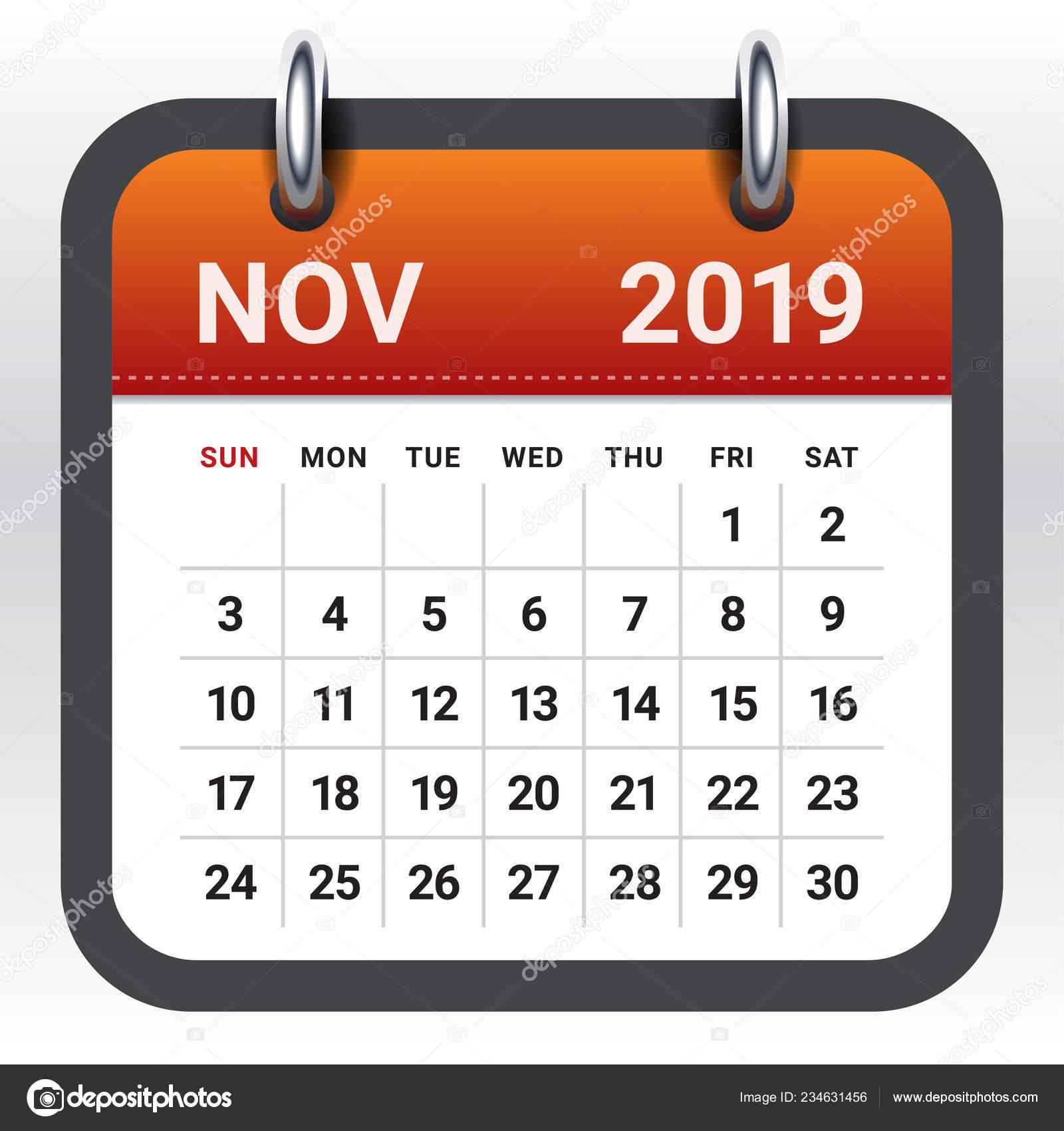 Illustration Calendrier.November 2019 Monthly Calendar Vector Illustration Simple