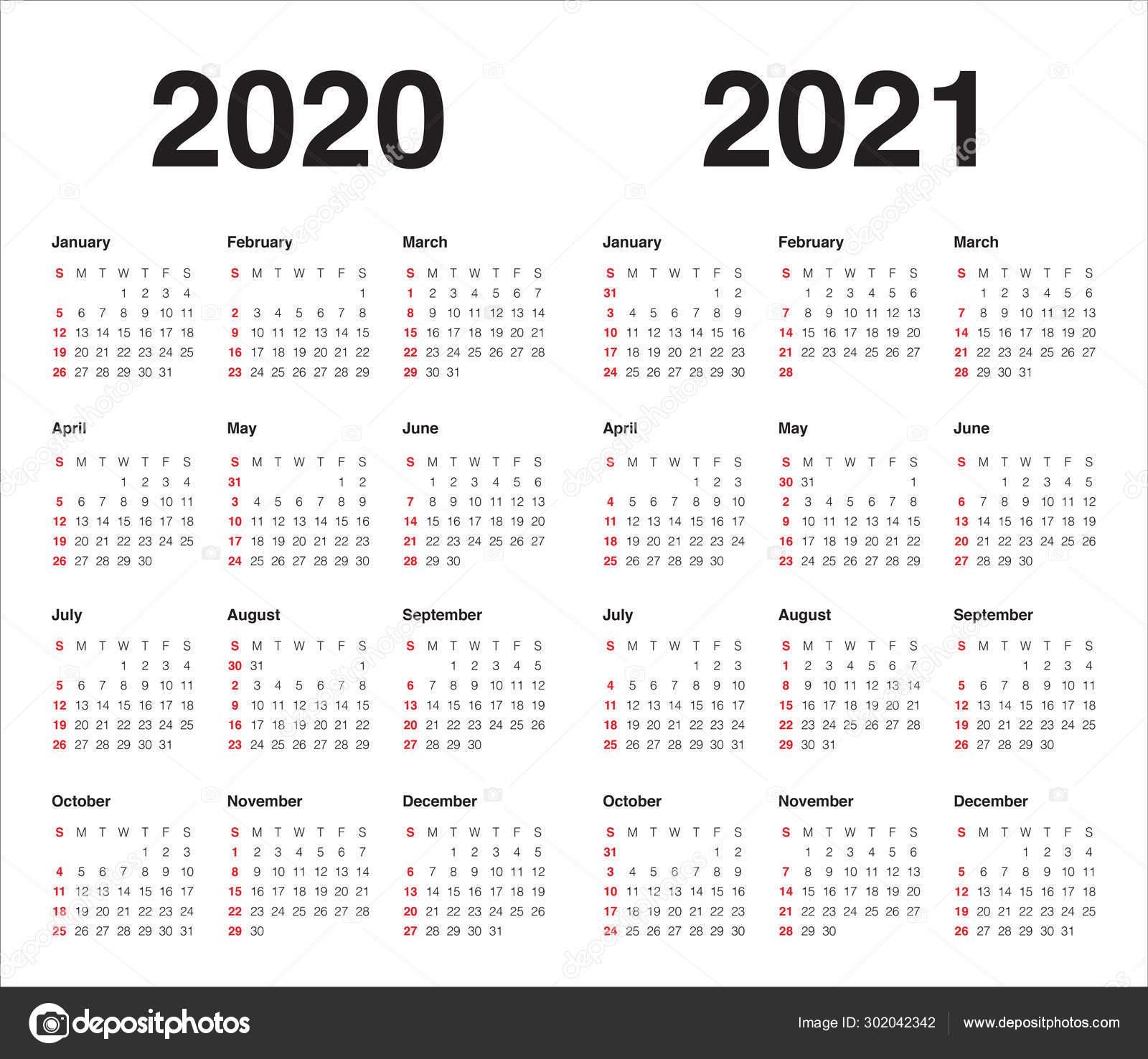 Year 2020 2021 calendar vector design template — Stock ...