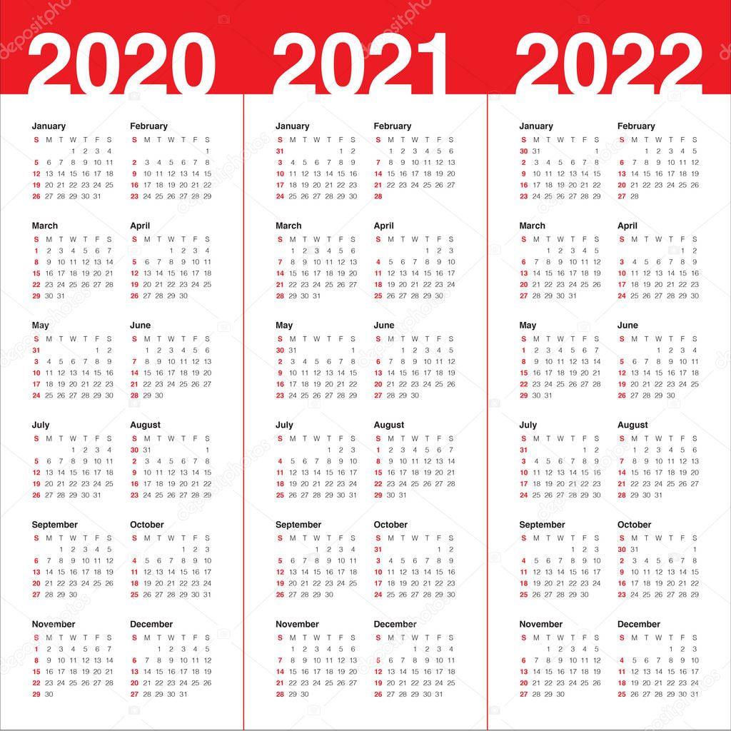 Year 2020 2021 2022 calendar vector design template ...