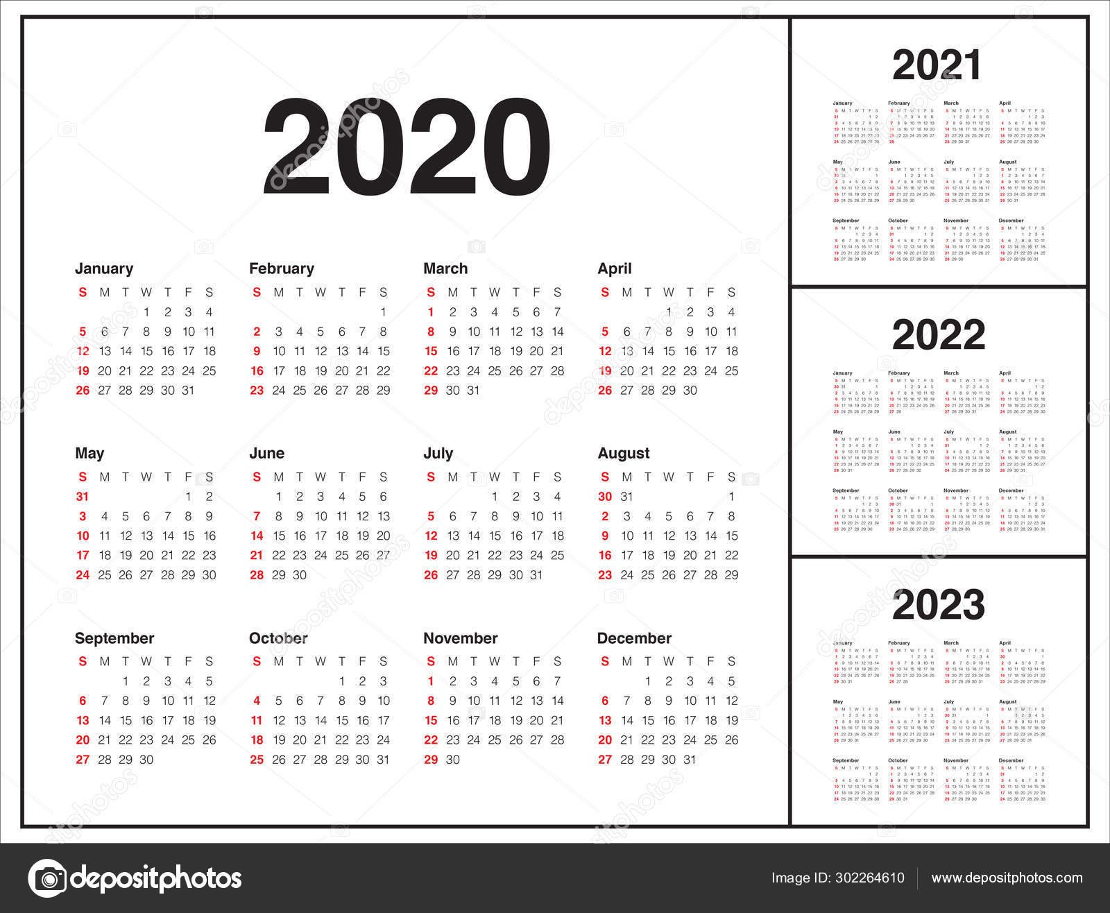 Year 2020 2021 2022 2023 calendar vector design template ...
