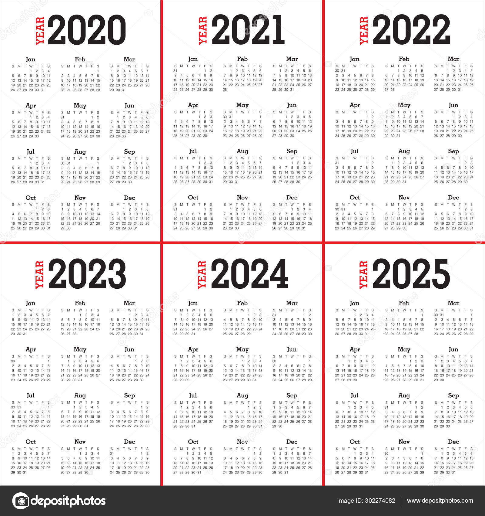 Calendar 2022 2023.Year 2020 2021 2022 2023 2024 2025 Calendar Design Stock Photo Image By C Dolphfynlow 302274082
