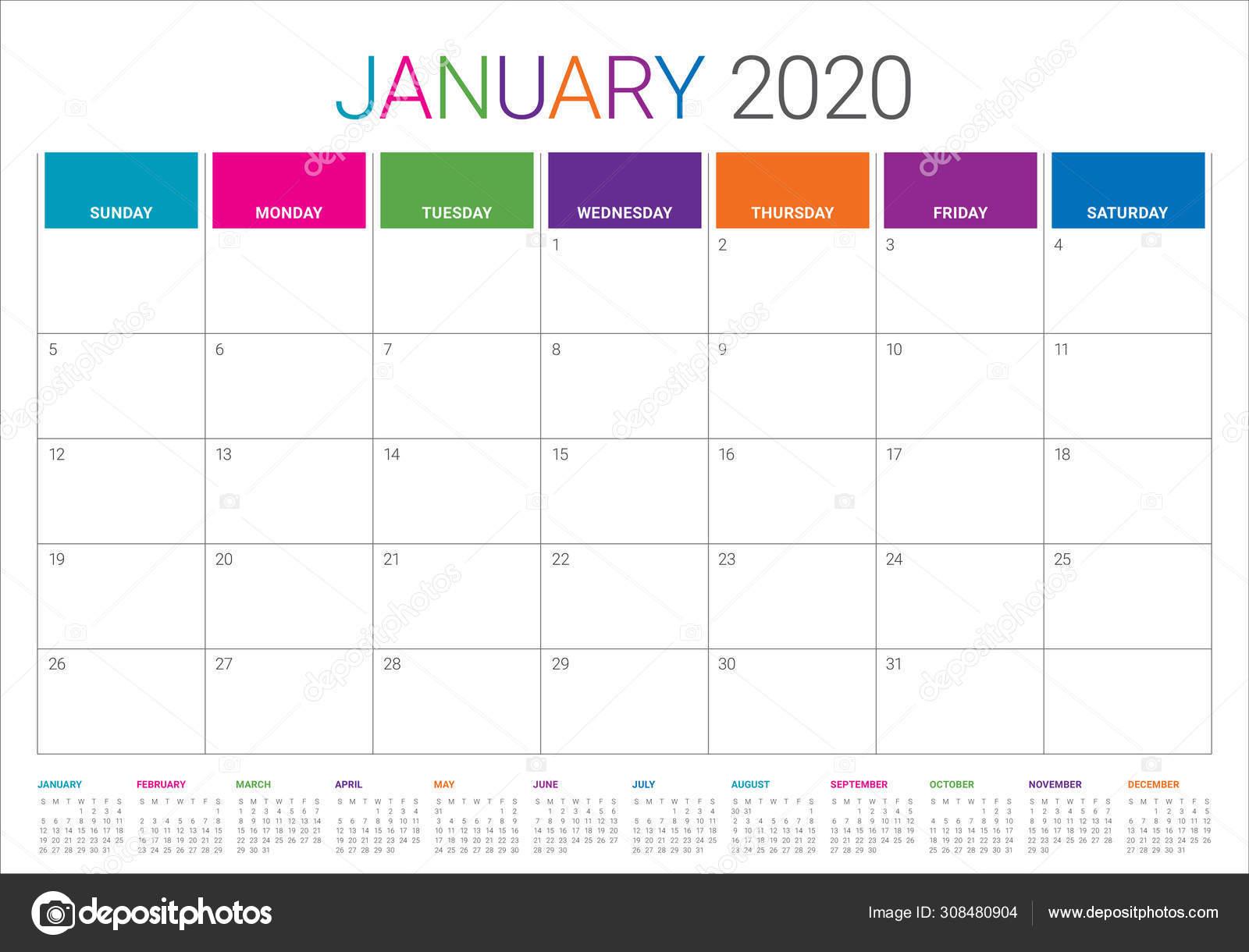 Calendrier Janvier 2020.Illustration Vectorielle De Calendrier De Bureau De Janvier