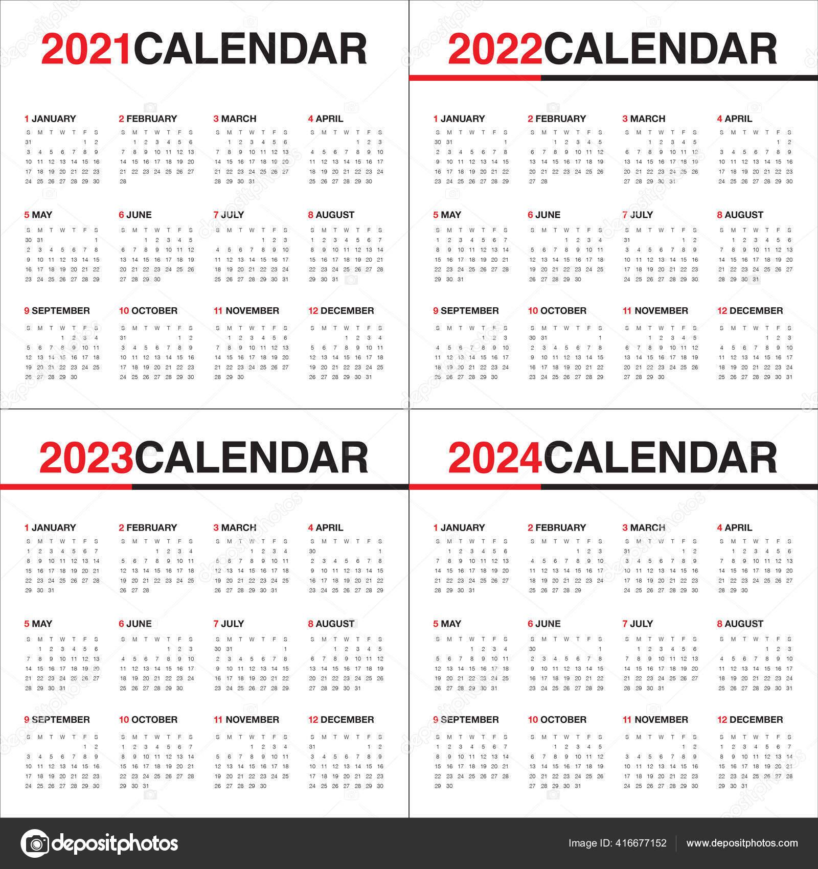 December 2023 And January 2022 Calendar.Year 2021 2022 2023 2024 Calendar Vector Design Template Simple Vector Image By C Dolphfynlow Vector Stock 416677152