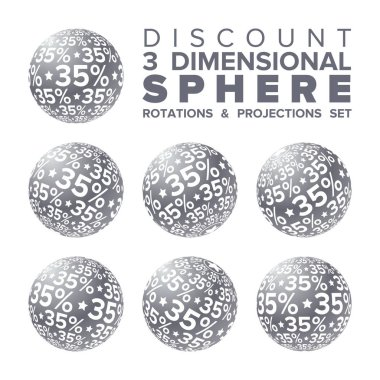Vector 3d Christmas silver and white 35 percent discount ball rotations and projections set