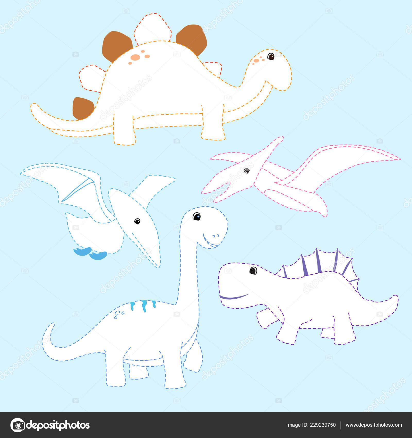 Diseño Vector Dibujo Dinosaurio Para Niños Página Dinosaurios Para