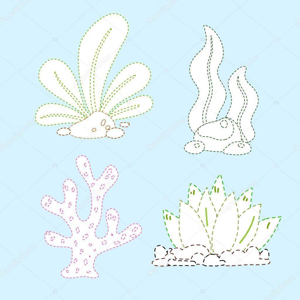 Sea Plants Line Drawing Vector Design For Kid Nature Page Coloring Vector Design Premium Vector In Adobe Illustrator Ai Ai Format Encapsulated Postscript Eps Eps Format