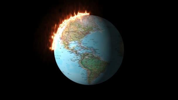 3D ztvárnění Planety Hořící Země - Animace