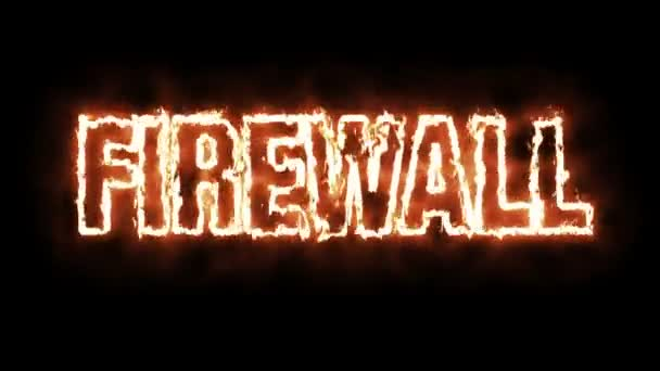 Animace textu slovo Firewall pálení ohně