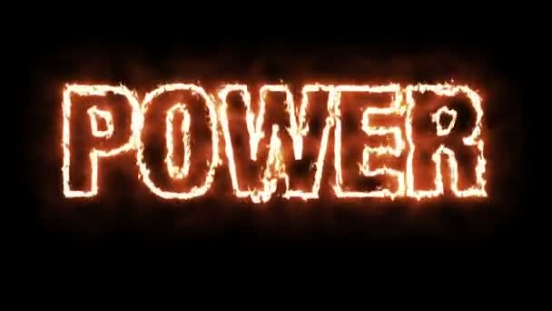 Text animation of the word POWER burning on fire