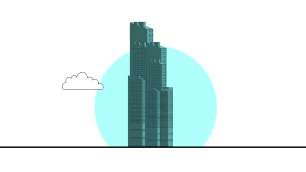 3D animace - vykreslení mrakodrap v ploché kreslený styl
