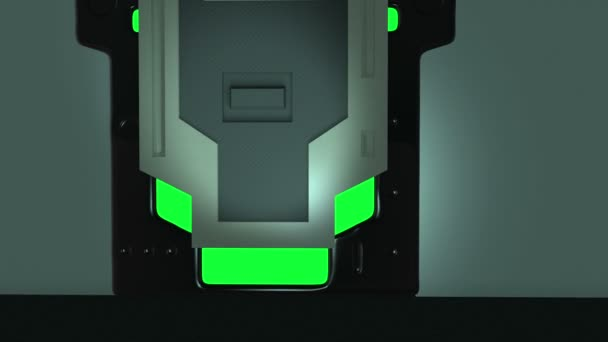 animace - sci fi dveře na zelené obrazovce