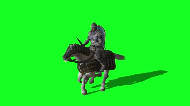 Medieval Knight  Ride Horse and make fight With Swords And Shield - animation on green screen