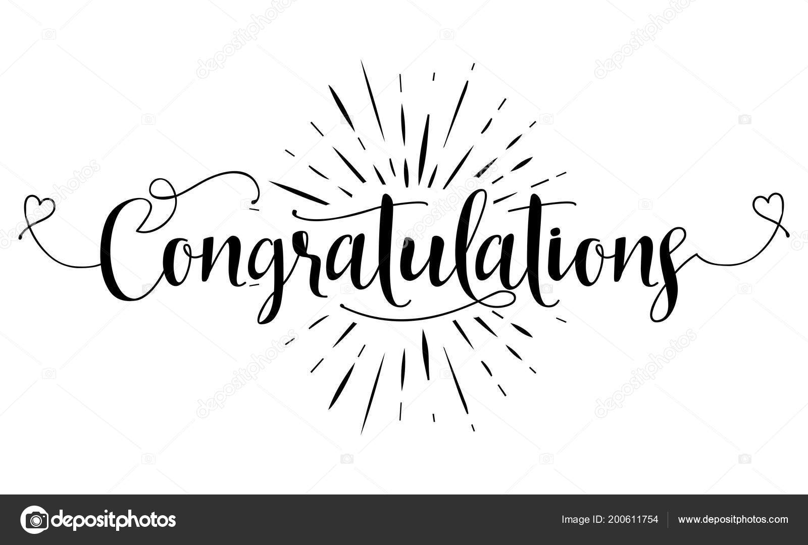 Congratulations Hand Lettering Typography Text Vector Eps