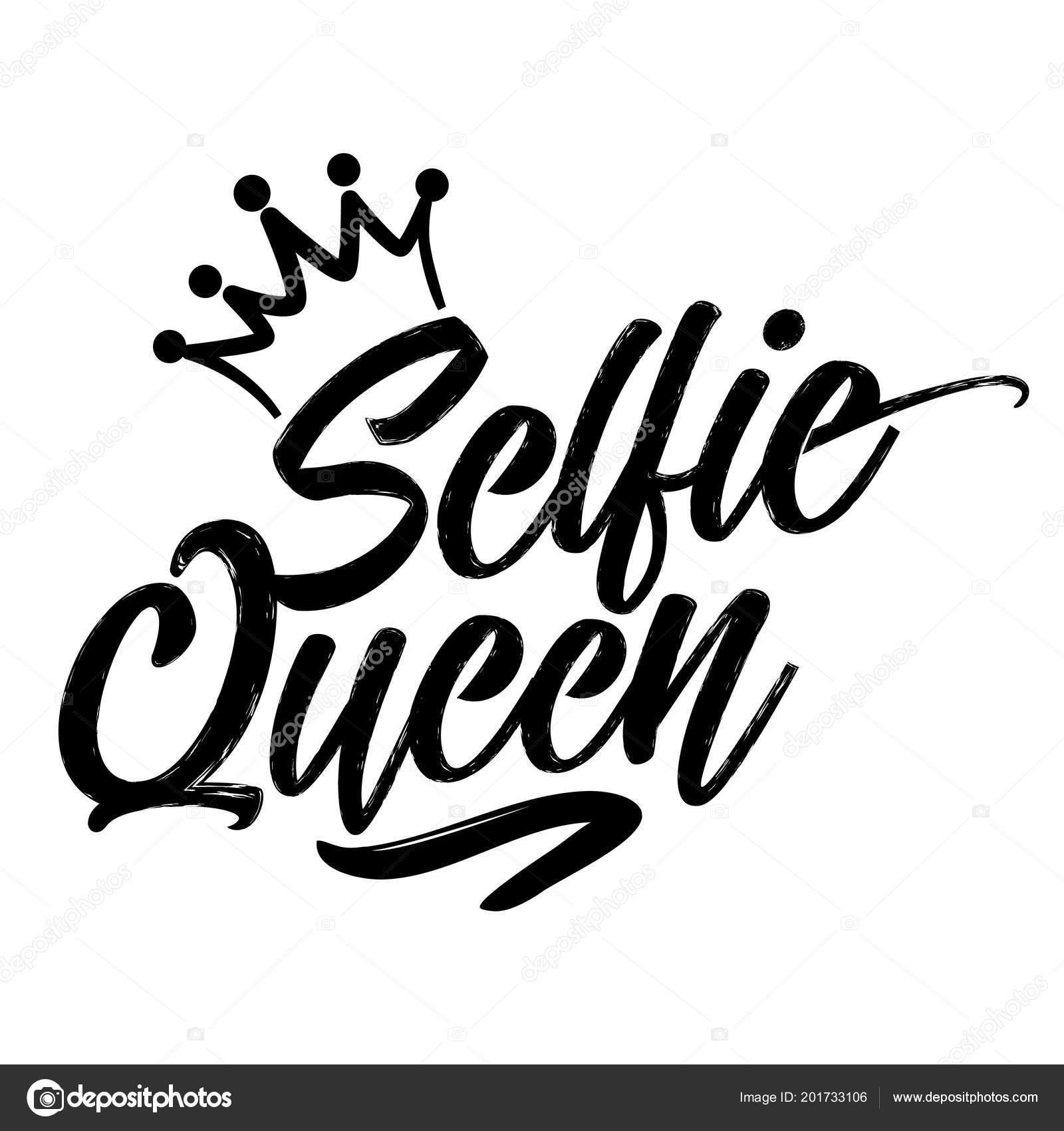 Selfie Queen Hand Drawn Typography Poster Conceptual