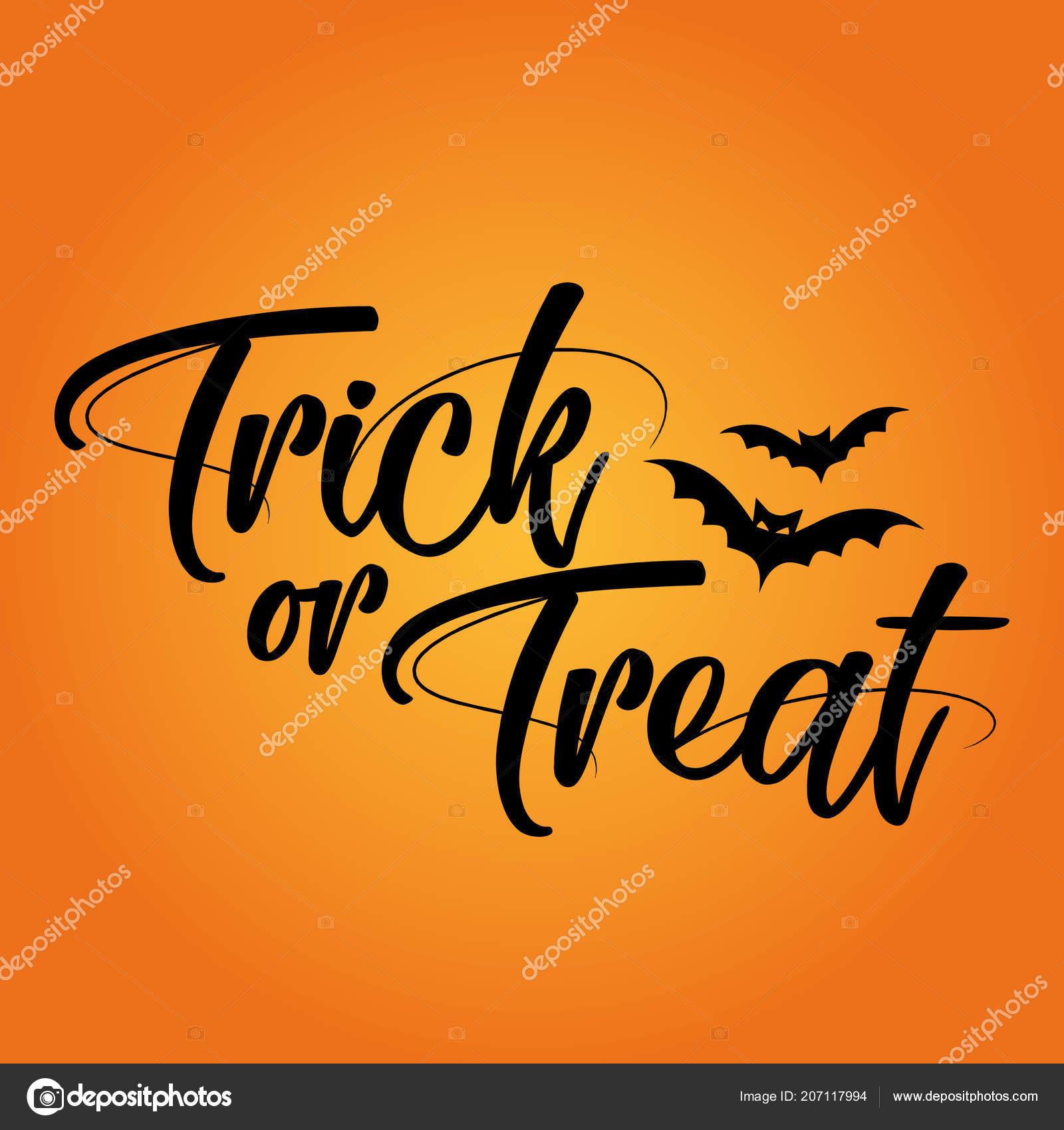 Halloween Quote.Trick Treat Halloween Quote Pumpkin Color Background Good