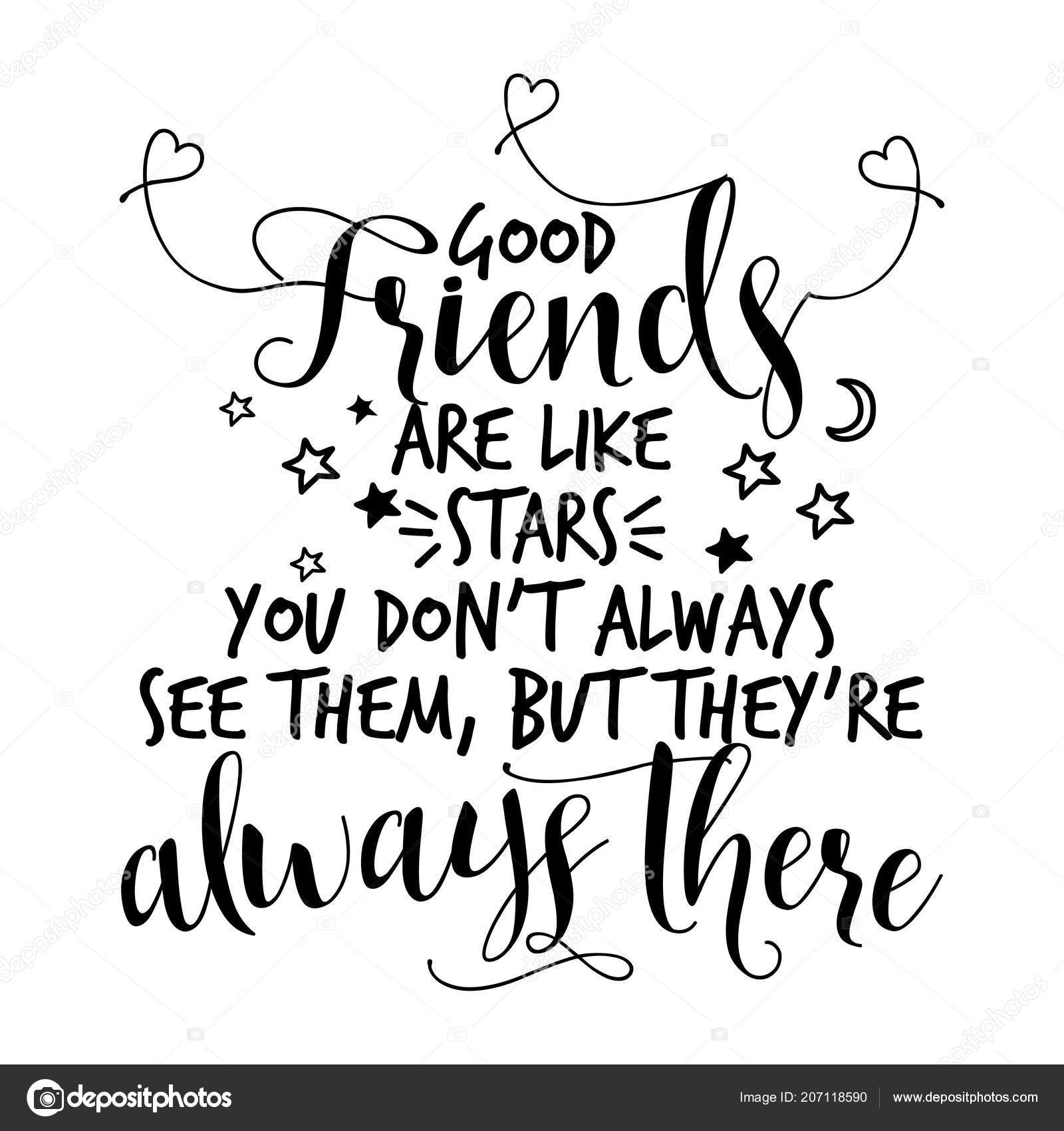 Gute Freunde Sind Wie Sterne Sie Sehen Sie Nicht Immer Stockvektor