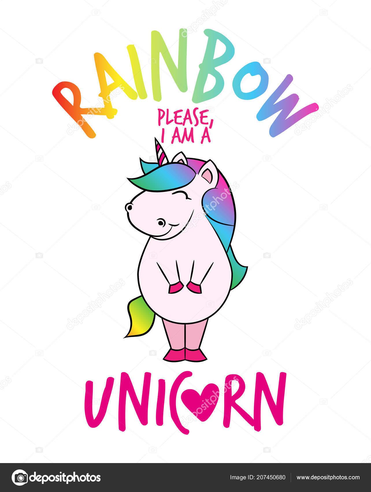 Unicorn Face Drawing Rainbow Please Unicorn Funny Vector