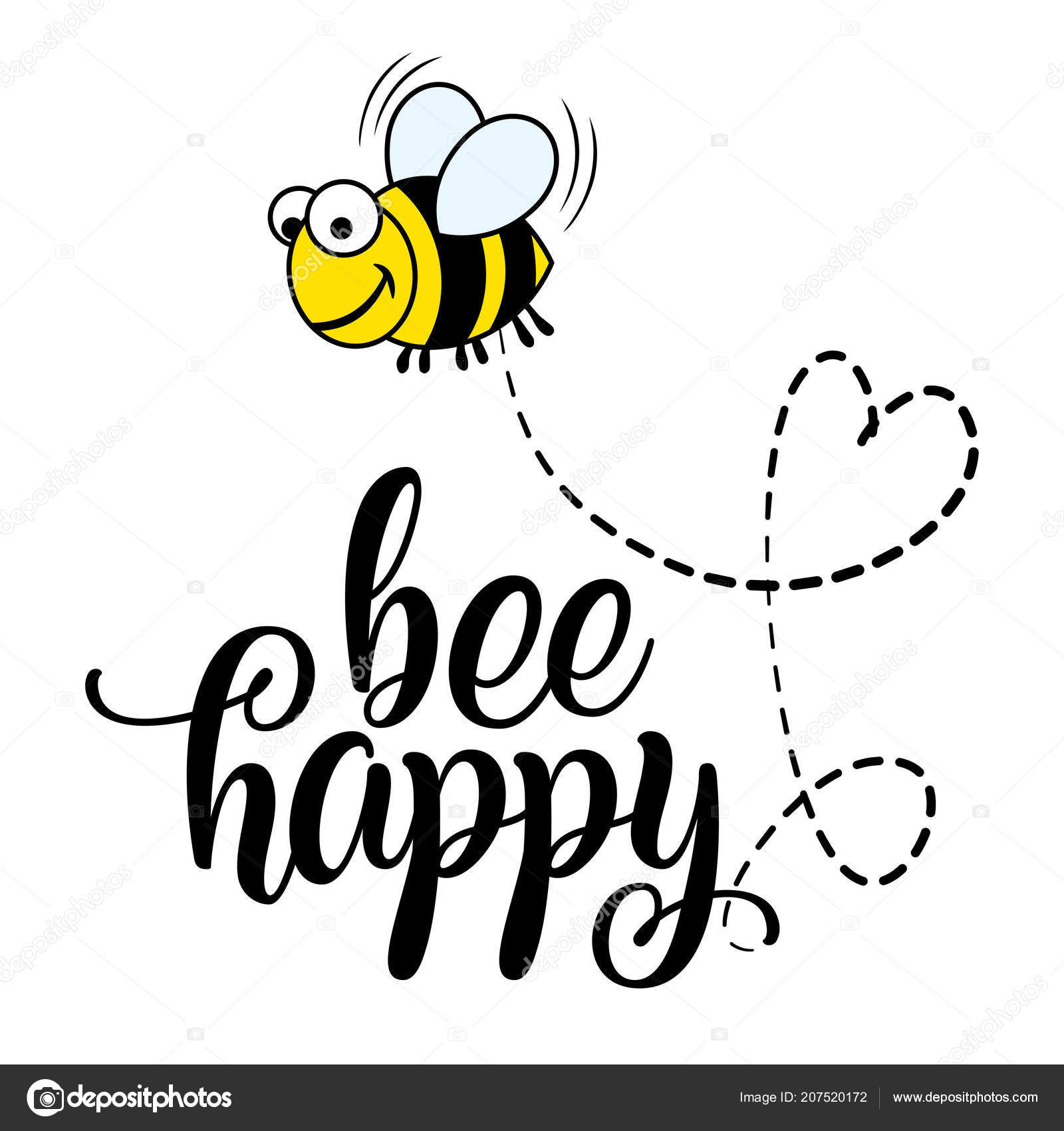 Bee Happy Funny Vector Text Quotes Bee Drawing Lettering