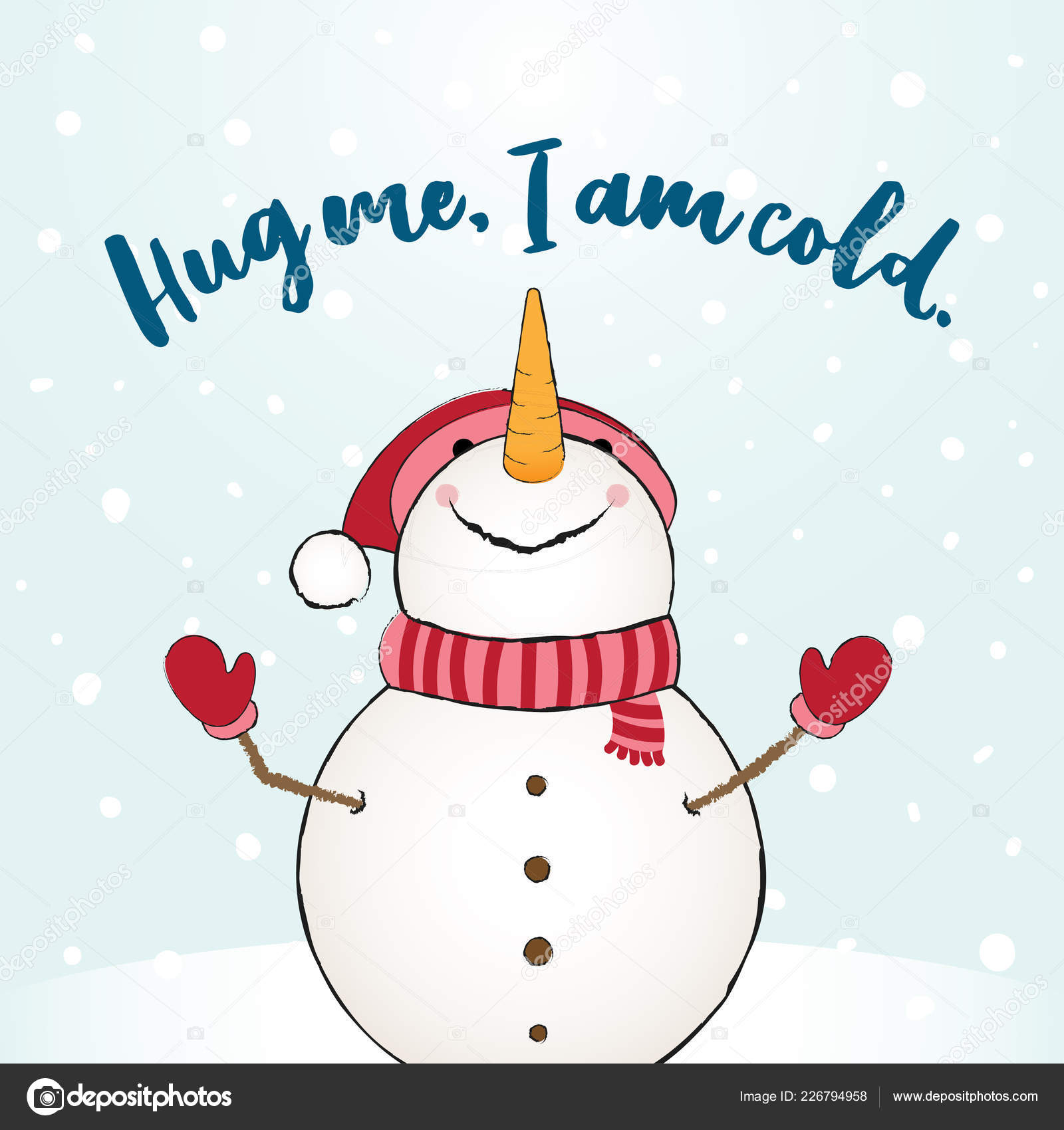 Hug Cold Funny Vector Quotes Snowman Drawing Hand Drawn Lettering