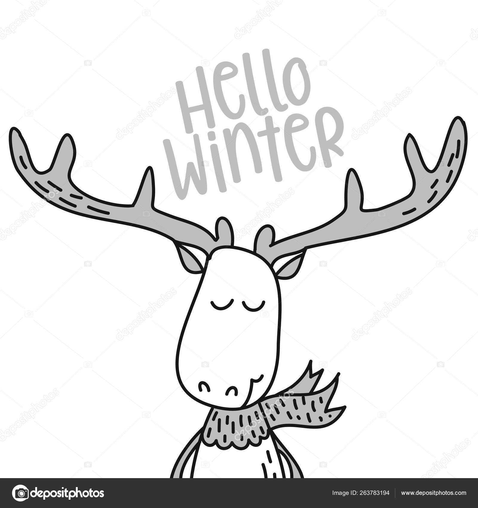 Hello Winter Cute Deer Design Funny Hand Drawn Doodle Cartoon