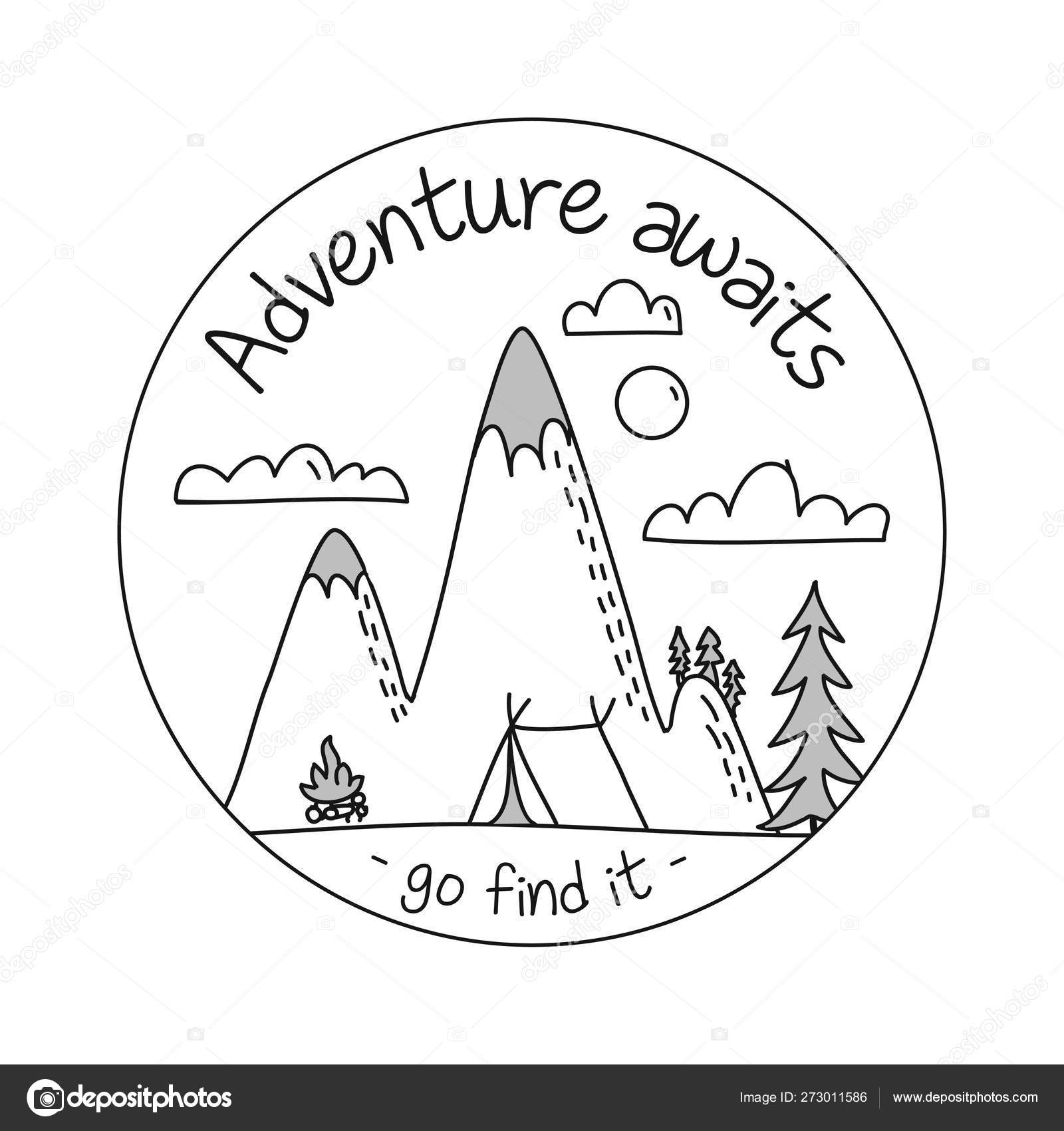 Adventure Awaits Find Lettering Inspiring Typography Poster