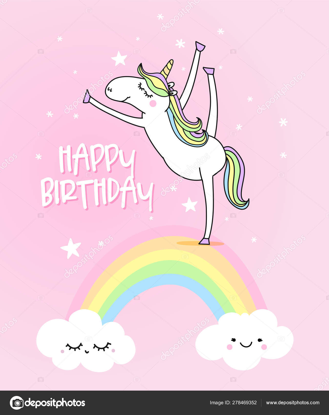 Happy Birthday Funny Vector Quotes Unicorn Drawing Lettering