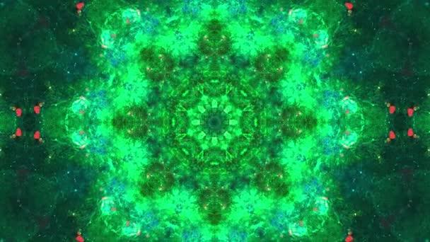 Színes piros zöld absztrakt háttér fraktál animáció. 4k varrat nélküli hurok. Geometriai grunge Kaleidoszkóp kék, rózsaszín és piros színekben. Kaleidoszkóp szekvencia mintái. Mozgóképek mintája