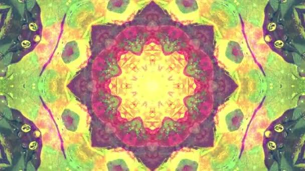 Színes sárga zöld karácsony absztrakt virág felvételeket fraktál animáció. 4k varrat nélküli hurok. Geometriai grunge kaleidoszkóp a szekvenciával mintákat. Szép karácsonyi ünnepeket háttér.