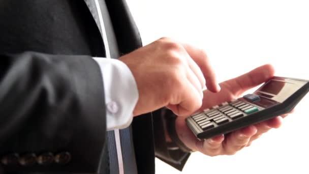 businessman calculate money pocket calculator