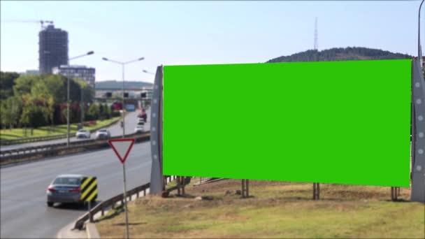 Green screen billboard urban traffic