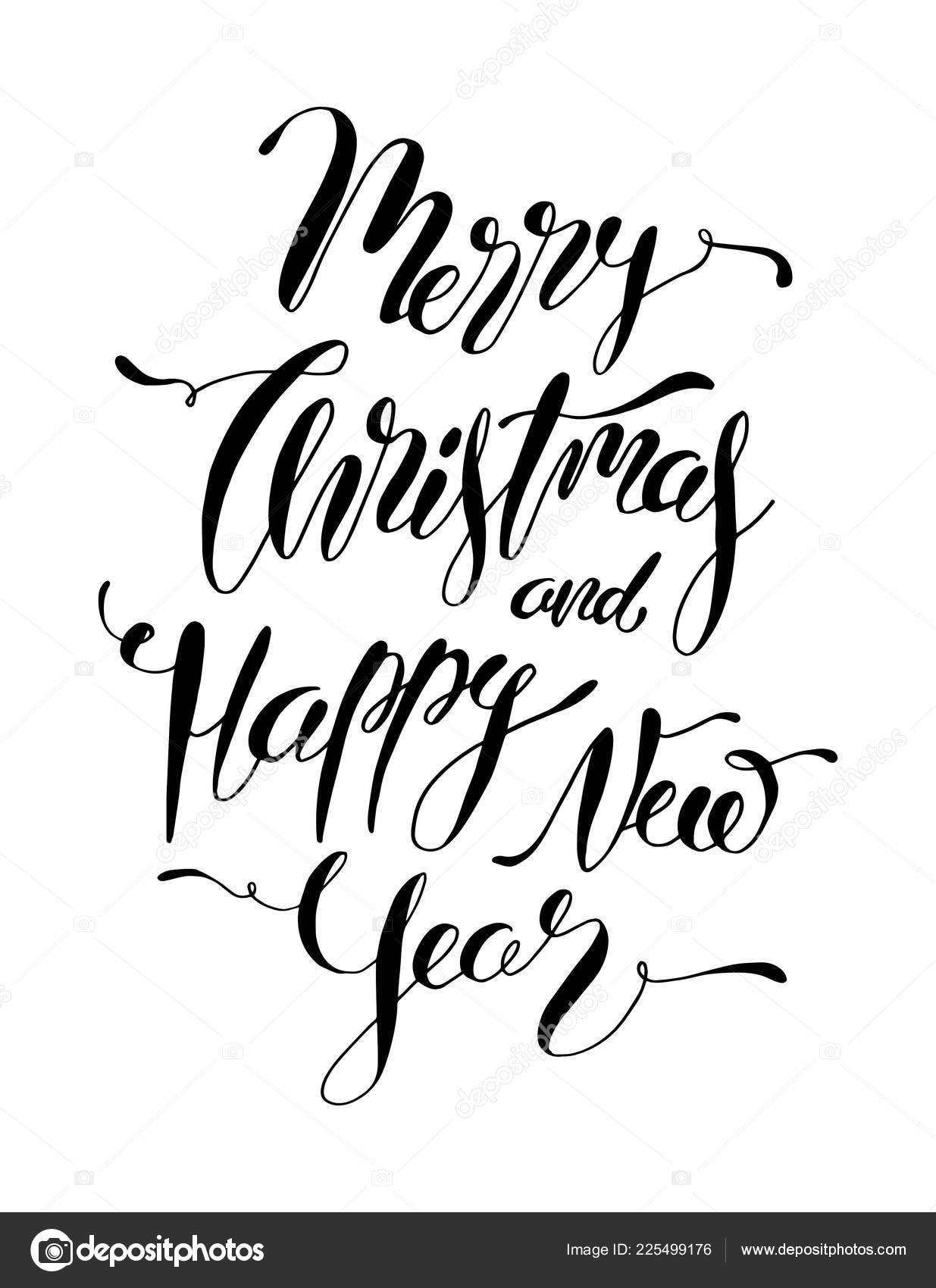 merry christmas happy new year hand lettering card vector christmas stock vector c turcanlena 225499176 https depositphotos com 225499176 stock illustration merry christmas happy new year html