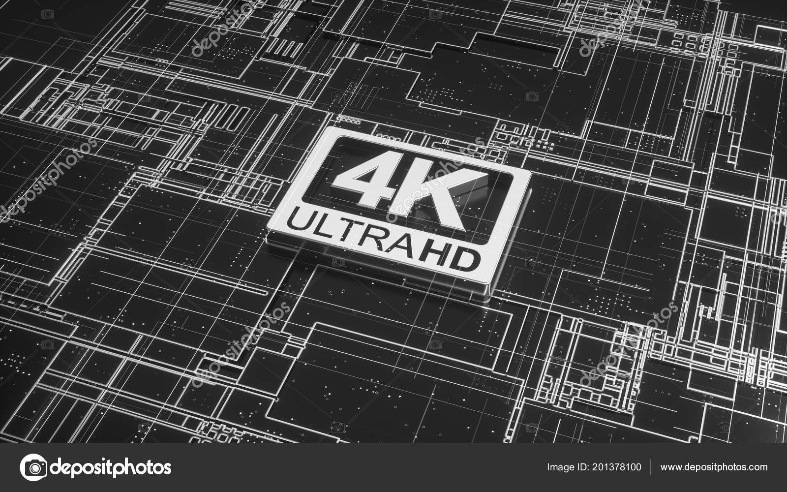 Ultra Symbol Abstract Electronic Circuit Board Television Technology Symbols A That 4k Hd On Concept Of High Definition Sign Digital Background With Many Lines