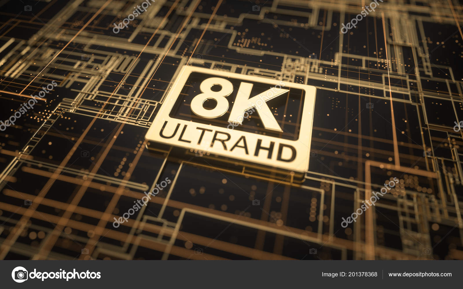 Ultra Symbol Abstract Electronic Circuit Board Television Technology Symbols A That 8k Hd On Concept Of High Definition Sign Digital Background With Many Lines