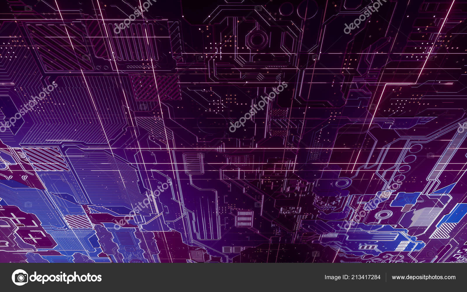 Digital Electronic Circuit Board Abstract Structure Many