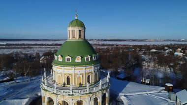 Church of the Nativity of the blessed virgin in winter in Podmoklovo, Moscow region, Russia, aerial view